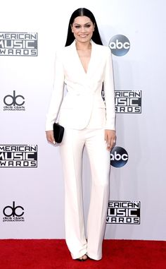 Jessie J from 2014 AMAs Red Carpet Arrivals  The pop star looked cool in a sleek all-white pantsuit.