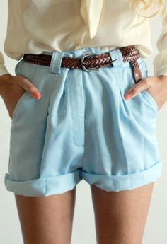 blue high-rise shorts