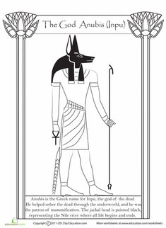 Meet Thoth (or Djehuti), one of the many Egyptian gods that were worshiped over years ago! The gods are an important part of Egypt's ancient culture and history. Read a fun fact, and add some colors to Thoth. Egyptian Mythology, Egyptian Goddess, Egyptian Anubis, Ancient Egypt For Kids, Egyptian Crafts, Egypt Art, Thinking Day, Gods And Goddesses, Ancient Civilizations