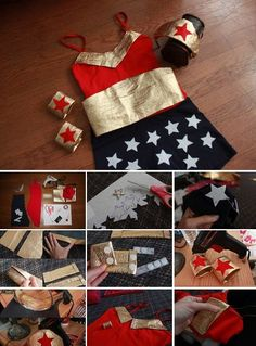 DIY- WONDER WOMAN COSTUME  Because every girl should be a super hero at least once in their lives! Below you will find a quick and inexpensive last minute costume idea for this year's Halloween. Enjoy!