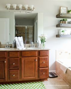 Master Bathroom Makeover home decor with 3 simple DIY's.