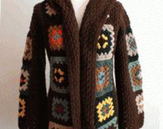 Crochet Oma Square Kleid Langarm von TinaCrochet2016 auf Etsy