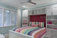 Inspiring Teenage Bedroom Designs for Your Home: Space Saving Ideas For Small Bedrooms With Blue Walls And Built In Bed Also Built In Storage Plus Ceiling Fan And Ceiling Lighting With Pink Accent Wall For Teenage Bedroom Designs ~ franklester.com Bedroom Inspiration