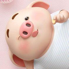 Apple Wallpaper, Pig Wallpaper, Animal Wallpaper, This Little Piggy, Little Pigs, Pig Drawing, Cartoon Background, Chibi Food, Baby Pigs