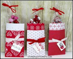 """Stampingwithamore: Sending Love Valentine Treat Holder.  6""""x6"""" DSP scored at 1 1/2"""" and 4 1/4""""; turn and score at 1"""" (this is the flap, make sure pattern is going in the right direction).  Tape on bottom wider side.  Finished size 5"""" tall x 2 3/4"""" wide."""
