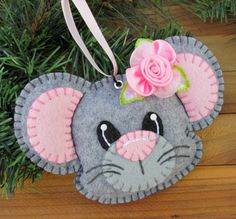 Wool Felt Mouse Ornament Hanger In Light Gray by FHGoldDesigns