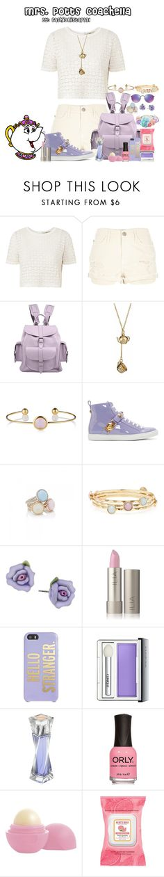 """Mrs. Potts Coachella"" by fashionista7331 ❤ liked on Polyvore featuring Orla Kiely, River Island, Grafea, Knot2much2ask, Versace, Forever New, 1928, Kate Spade, Clinique and Lancôme"