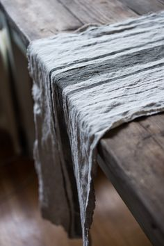 Gorgeous washed French linen table runner.