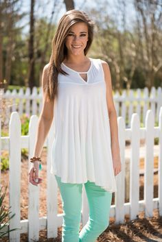 Get Mellow Tank, Ivory || Get mellow with this gorgeous white tank! The ultra soft material and relaxed fit will have you feeling at ease in no time flat. :)
