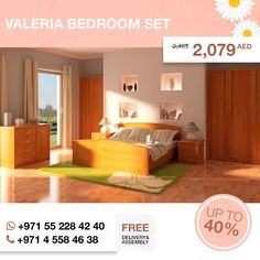 This Valeria bedroom set allows you to create a master room where you can relax and show off your simple style. Its pleasures color creates that kind of ambiance, that should exist in any bedroom - calm and vital at the same time. Store folded clothing, blankets and more in the confines of the drawers on either the dresser, nightstand or both.  More details here: http://gtfshop.com/valeria-bedroom-set?search=valeria  All items up to 80% OFF are in our outlet here: http://gtfshop.com/outlet…