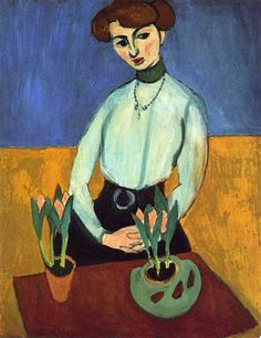 Girl with Tulips, 1910. Oil on canvas, 92 x 73.5 cm. by Henri Matisse (1869–1954).  State Hermitage Museum, St. Petersburg. © The State Hermitage Museum