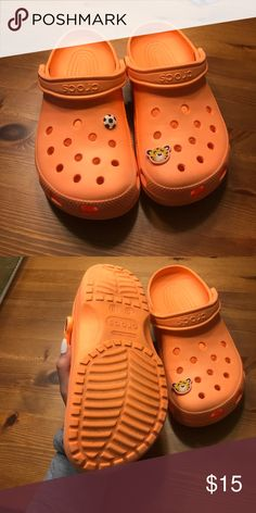 Orange crocs Almost brand new condition! Jibits can easily be taken off so they are plain! Price is firm unless bundled CROCS Shoes