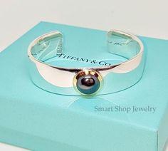 1a1f62ec3 $669 Tiffany & Co. Rare Vintage Sterling Silver 18k Gold Hematite Cuff  Bangle Bracelet 7