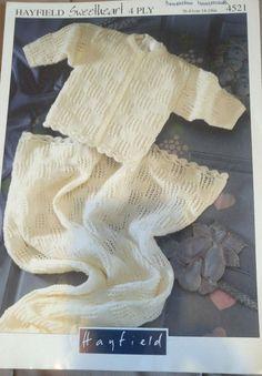 Baby Cardigan & Cot Blanket Hayfield 4521 knitting pattern 4 ply yarn #Hayfield