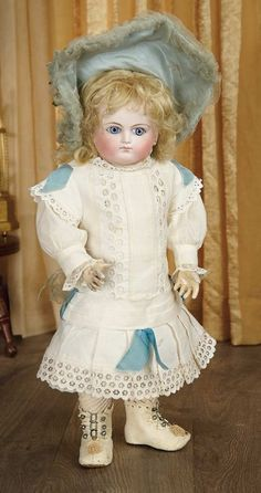 Sanctuary: A Marquis Cataloged Auction of Antique Dolls: Very Rare Model of French Bisque Bebe by Schmitt et Fils