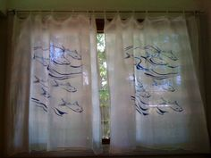Just Made These Cheerful Curtains From Screen Printed Flour Sack Dishcloths Simply Sew Ribbon