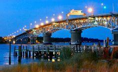 """""""Coleman Bridge at Dusk"""" (Yorktown), Laura Dent Virginia, Donate Now, Sydney Harbour Bridge, Dusk, Travel, Viajes, Traveling, Tourism, Outdoor Travel"""