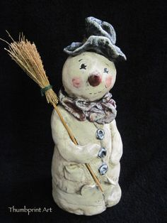 8 8 Inch Paper Clay Primitive Snowman with Top by Thumbprintart