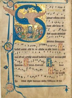 Announced by Quaternio, the Gradual of Gisela von Kerssenbrock (Codex Gisle) is the amazing facsimile of a rare manuscript painted by a nun from Rulle. Medieval Music, Medieval Books, Medieval Art, Renaissance Art, Music Manuscript, Medieval Manuscript, Illuminated Letters, Illuminated Manuscript, Eslava