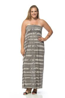 Grey Painted Stripe Banded Long Plus Size Maxi Dress