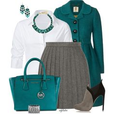 how to mix turquoise and teal clothes for work 5