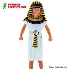 $9.50 Euros. Disfraz de Egipcio Barato. Los disfraces de Faraón son uno de los preferidos por los niños. Genial para fiestas de fin de curso o para grupos. Incluye: Tunica con Cuello, Cinturón y Pañuelo.