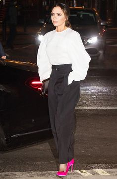 ff7ba218035b Victoria Beckham Just Wore Neon for a Night With Kate Middleton—Yes, Really