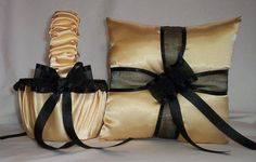 Light Gold Satin With Black Lace And Ribbon Trim  Flower Girl Basket And Ring Bearer Pillow For Sophie