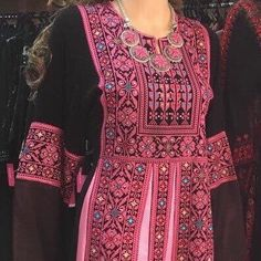 $210 Black dresses / Kaftan / Tobe / Thobe with Pink  Palestinian Cross Stitch / Embroidery