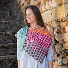 The Honeycomb Shawl pattern was designed by Kirsten Kapur. Our sample was knit in the Endpapers Gradient Set and Fleur de Sel Yummy 2-Ply. This fun-to-knit, tw