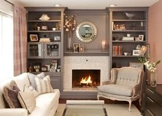 56 Relaxing Small Living Room Decor Ideas With Fireplace – Family Room İdeas 2020 Wall Units With Fireplace, Living Room Decor Fireplace, Fireplace Bookshelves, Fireplace Built Ins, Fireplace Surrounds, Fireplace Design, Home Living Room, Living Room Designs, Fireplace Ideas