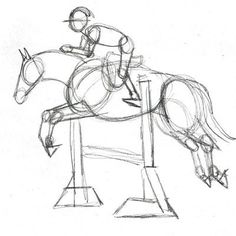 The preliminary structural sketch of the horse and rider.