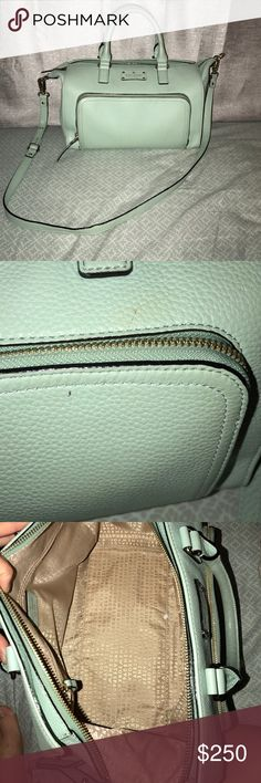 Mint Blue Kate Spade purse Big mint blue Kate spade purse. Has handles then a longer strap that can be adjusted. Used maybe 6 times max. Has two tiny flaws as pictured but is in very great condition. Color is dustymint. Name of purse is Marian- Baxter Street. kate spade Bags Totes