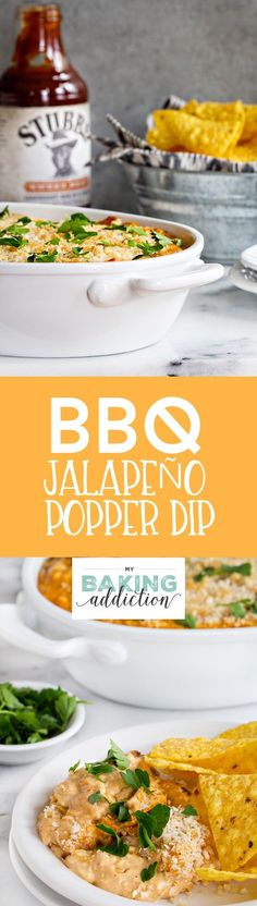 BBQ Jalapeño Popper Dip is loaded with big flavor thanks to Stubb's Sweet Heat Bar-B-Q sauce, Mexican shredded cheese, bacon and jalapeños. Low Carb Dinner Recipes, Vegetarian Recipes Dinner, Healthy Dessert Recipes, Breakfast Recipes, Spicy Recipes, Dip Recipes, Desserts, Barbecue Recipes, Delicious Recipes