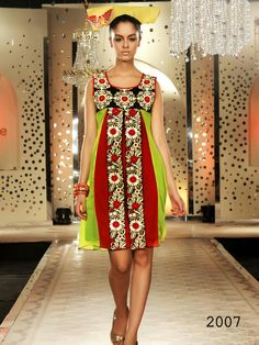 Red and Green Georgette cotton Kurti