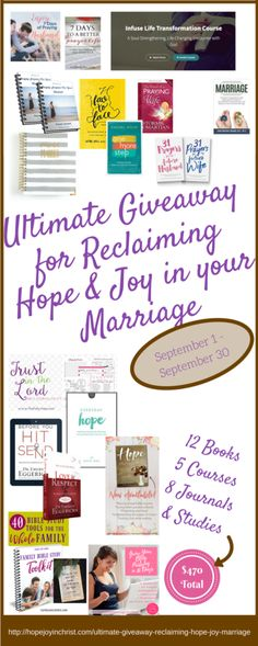 Ultimate Giveaway for Reclaiming Hope & Joy in your Christian Marriage. Marriage Advice, Marriage Tips, Biblical Wifehood Secrets, Christian Marriage Resources