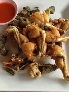 Thai food. Fried frog legs