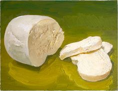 Mozzerella! This delicious, tender and beautiful cheese is handmade by Di Bruno Brothers in Philadelphia. I've bought a lot of my cheeses that I painted here, but this one they actually make themselves. SOLD: prints available: http://mikegeno.com/catalog/print_pages/cheese/Mozzerella_PRINT.htm