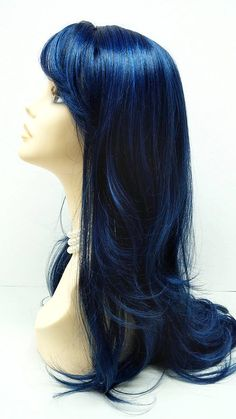 Long 26 inch Wavy Dark Midnight Blue Wig. Cosplay Wig. Scene Wig. Festival Wig. Wavy with bangs by ParamountWigs on Etsy