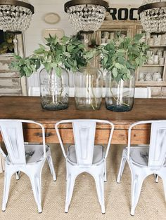Simple Glass Jug & Branch Spring Centerpiece for Outdoor Table Dining Room Table Centerpieces, Vases Decor, Table Decorations, Centerpiece Ideas, Wedding Centerpieces, Table Lamp, Farmhouse Lamps, Farmhouse Style, The Found Cottage