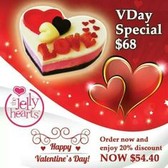 2014 vday special 3D heart Jelly Hearts, Valentines Day, Birthday Cake, 3d, Breakfast, Desserts, Valentine's Day Diy, Morning Coffee, Tailgate Desserts