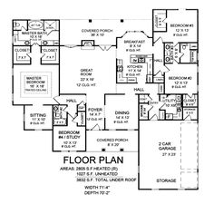 Country Southern Traditional House Plan 59162 Level One