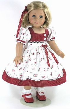 Handmade 18 inch Doll Dress for American Girl - Dots and Cherries - Exclusively Linda Doll Clothes American Girl Outfits, American Girl Dress, American Doll Clothes, Ag Doll Clothes, Doll Clothes Patterns, Sewing Dolls, 18 Inch Doll, Girl Dolls, Ag Dolls