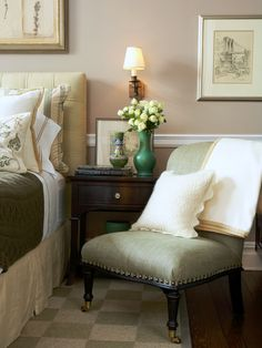 Cozy Sitting Area in Guest Bedroom with Light Tans, Light Green, & Light Yellows (Scott Sanders)