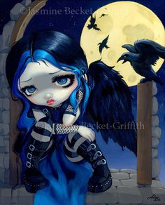 The Whispered Word Lenore goth poe fairy art print by strangeling, $13.99