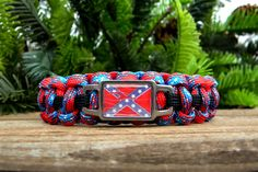 Confederate Flag Paracord Bracelet Custom by knotcreations on Etsy, $17.00