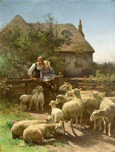 Feeding The Sheep by Luigi Chialiva (1842 – 1914, Swiss)