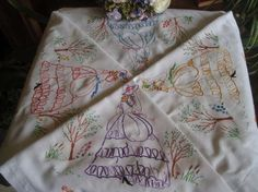 "Stunning Vintage Embroidered Crinoline Lady Windy Garden Tablecloth 47"" sq"