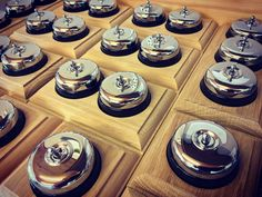 Olivers Lighting's Standen switches. Natural oak pattress, black ceramic switch holder and a chrome switch and dome.