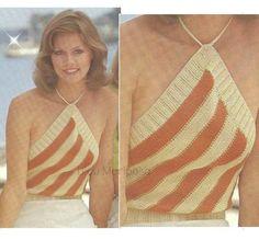 Crochet Vintage, Motif Vintage, Crochet Diy, Crochet Quilt, Vintage Knitting, Vintage Patterns, Vintage 70s, Motif Bikini, Bikini Top
